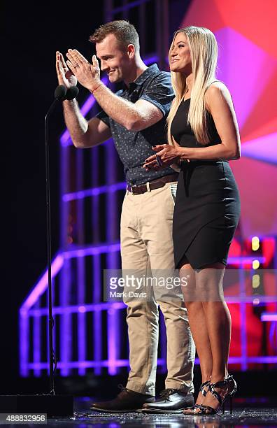 Actor James Van Der Beek and internet personality Justine Ezarik speak onstage at VH1's 5th Annual Streamy Awards at the Hollywood Palladium on...