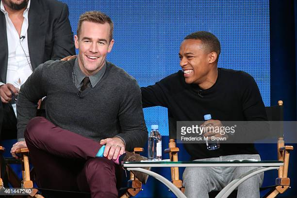 Actor James Van Der Beek and Shad Moss speak onstage during the 'CSI Cyber' panel as part of the CBS/Showtime 2015 Winter Television Critics...