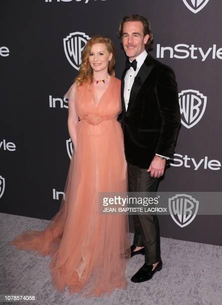 US actor James Van Der Beek arrives with his wife Kimberly Brook for the Warner Bros and In Style 20th annual post Golden Globes party at the Oasis...