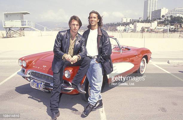 Actor James Wilder and Actor Dan Cortese attend the MulitFaceted KickOff Rally to Celebrating the NBC's New Show 'Route 66' on June 3 1993 at the...