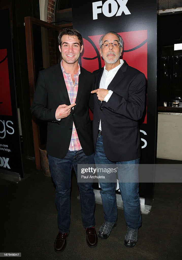 Actor James Wolk (L) and Producer Jon Avnet (R) attend the one year anniversary celebration for the WIGS digital channel at Akasha Restaurant on May 2, 2013 in Culver City, California.