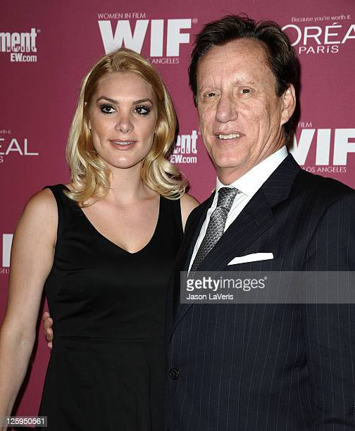 Actor James Woods and Ashley Madison attend the EW And WIF preEmmy party at BOA Steakhouse on September 16 2011 in West Hollywood California
