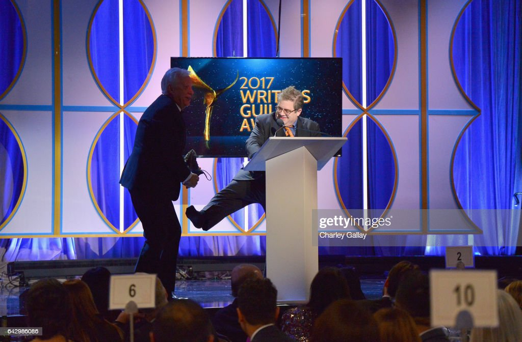 Actor James Woods and Host Patton Oswalt speak onstage during the ...