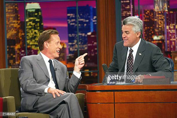 Actor James Woods appears on The Tonight Show with Jay Leno at the NBC Studios July 8 2003 in Burbank California