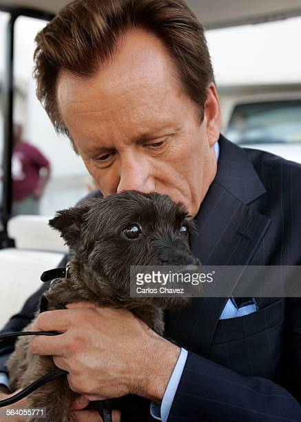 Actor James Woods with his dog Angel on the Fox Studios lot where they are tapping Shark a new series for CBS about Sebastian Stark an...