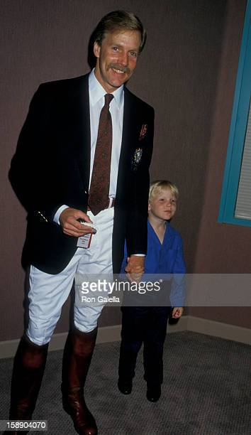 Actor Jameson Parker and son Jamie Parker attend Ben Johnson ProCelebrity Rodeo on June 7 1987 at the Los Angeles Equestrian Center in Los Angeles...