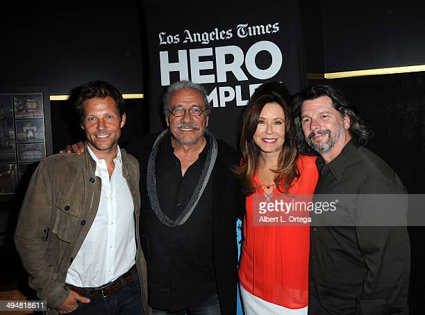 Actor Jamie Bamber actor Edward James Olmos actress Mary McDonnell and writer/producer Ronald D Moore arrive for the 5th Annual Hero Complex Film...