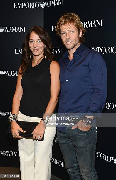 Actor Jamie Bamber and Kerry Norton attend the Emporio Armani New York Flagship Opening on September 7 2012 in New York City