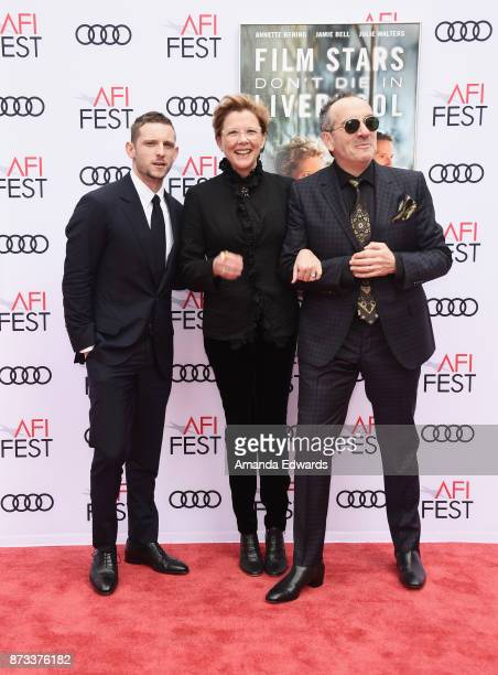 Actor Jamie Bell actress Annette Bening and musician Elvis Costello arrive at the AFI FEST 2017 Presented By Audi screening of 'Film Stars Don't Die...