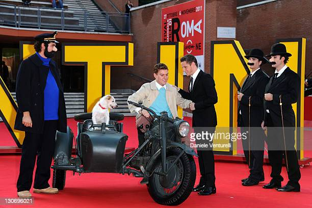 Actor Jamie Bell and characters from the film attend ''The Adventures Of Tin Tin' Premiere during the 6th International Rome Film Festival at...