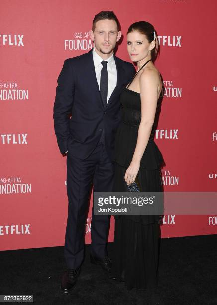 Actor Jamie Bell and wife actress Kate Mara arrive at SAGAFTRA Foundation Patron of the Artists Awards 2017 on November 9 2017 in Beverly Hills...