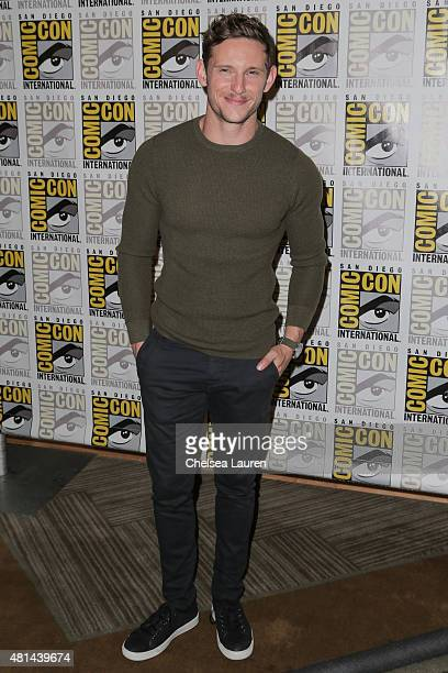 Actor Jamie Bell arrives at the 'Fantastic Four' press room during ComicCon International on July 11 2015 in San Diego California