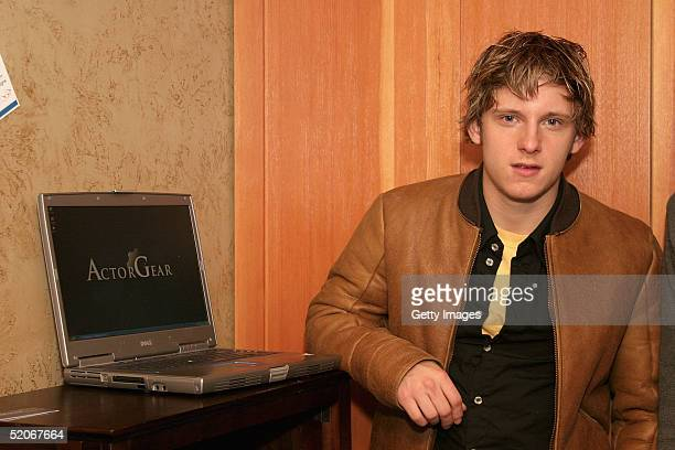 Actor Jamie Bell visits the ActorGearcom display at the Gibson Gift Lounge during the 2005 Sundance Film Festival on January 24 2005 in Park City Utah