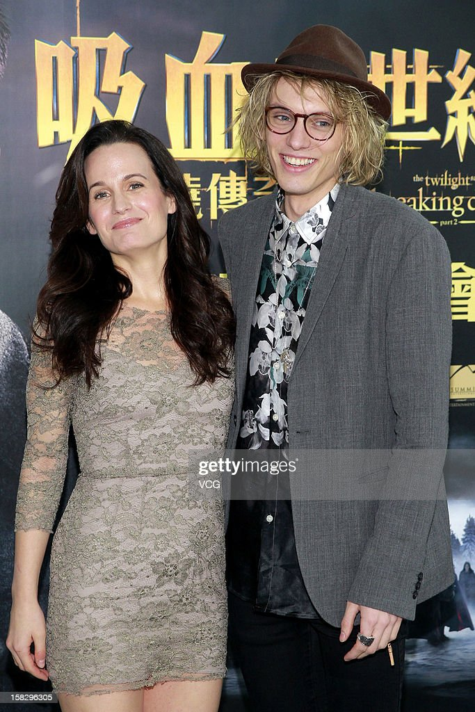 Actor Jamie Campbell Bower and actress Elizabeth Reaser attend the 'Twilight Saga: Breaking Dawn Part 2' press conference on December 12, 2012 in Hong Kong, Hong Kong.