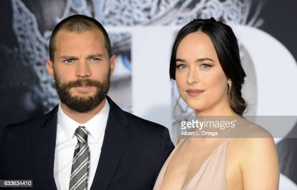 Actor Jamie Dornan and actress Dakota Johnson arrive for the Premiere Of Universal Pictures' 'Fifty Shades Darker' at The Theatre at Ace Hotel on...