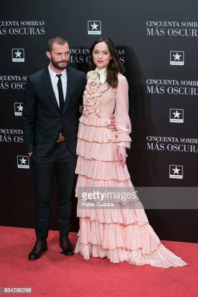 actor Jamie Dornan and actress Dakota Johnson attend the 'Fifty Shades Darker' premiere at Kinepolis Cinema on February 8 2017 in Madrid Spain