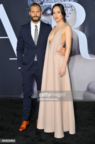 Actor Jamie Dornan and actress Dakota Johnson attends the Premiere of Universal Pictures' 'Fifty Shades Darker' at The Theatre at Ace Hotel on...