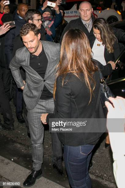 Actor Jamie Dornan and wife Amelia Warner arrive at 'C a Vous' TV show on February 5 2018 in Paris France