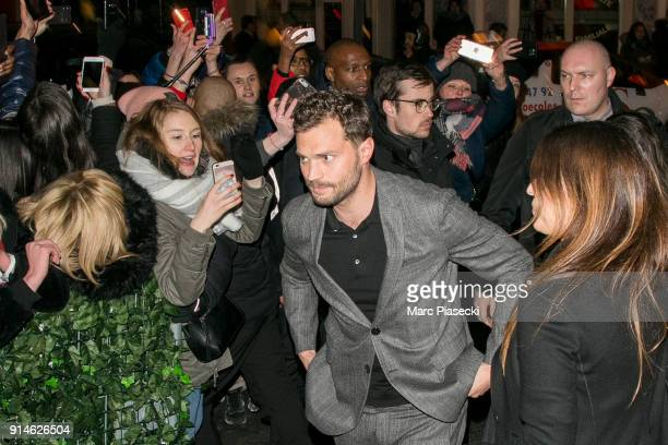 Actor Jamie Dornan arrives at 'C a Vous' TV show on February 5 2018 in Paris France
