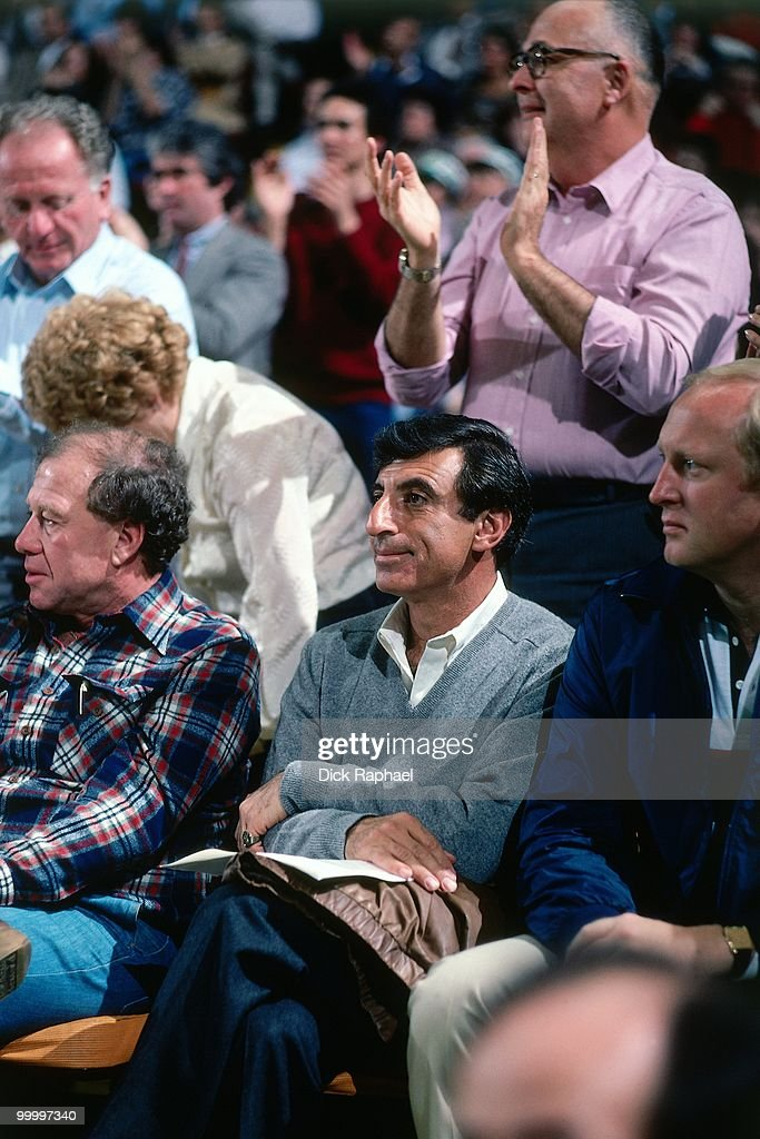 Actor Jamie Farr sits courtside during a game played in 1983 at the Boston Garden in Boston, Massachusetts.