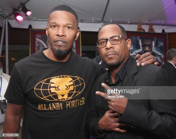 Actor Jamie Foxx and actor/comedian Martin Lawrence at the Los Angeles World Premiere of Marvel Studios' BLACK PANTHER at Dolby Theatre on January 29...