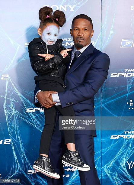 Actor Jamie Foxx and Annalise Bishop attend The Amazing SpiderMan 2 premiere at the Ziegfeld Theater on April 24 2014 in New York City