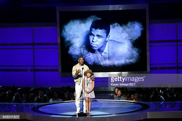 Actor Jamie Foxx and Annalise Bishop speak onstage during the 2016 BET Awards at the Microsoft Theater on June 26 2016 in Los Angeles California