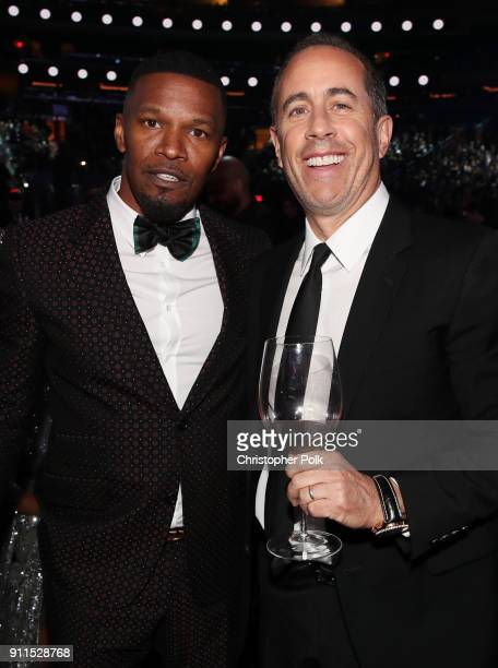 Actor Jamie Foxx and comedian Jerry Seinfeld attend the 60th Annual GRAMMY Awards at Madison Square Garden on January 28 2018 in New York City