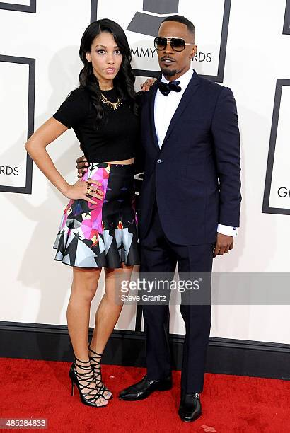 Actor Jamie Foxx and Corinne Bishop attend the 56th GRAMMY Awards at Staples Center on January 26 2014 in Los Angeles California