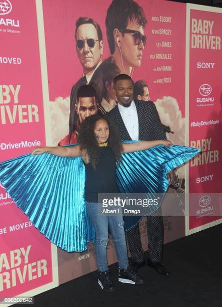 Actor Jamie Foxx and daughter Annalise Bishop arrive for the Premiere Of Sony Pictures' 'Baby Driver' held at Ace Hotel on June 14 2017 in Los...