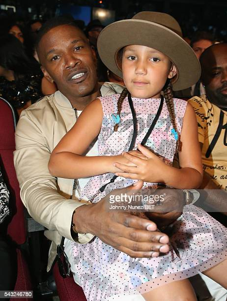Actor Jamie Foxx and daughter Annalise Bishop attend the 2016 BET Awards at the Microsoft Theater on June 26 2016 in Los Angeles California