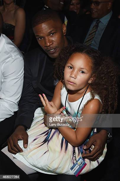 Actor Jamie Foxx and daughter Annalise Bishop attend The 57th Annual GRAMMY Awards at the STAPLES Center on February 8 2015 in Los Angeles California