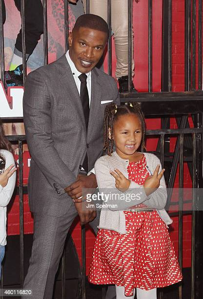 Actor Jamie Foxx and daughter Annalise Bishop attend the 'Annie' world premiere at Ziegfeld Theater on December 7 2014 in New York City