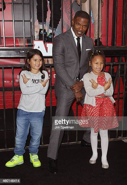 Actor Jamie Foxx and daughter Annalise Bishop attend the Annie world premiere at Ziegfeld Theater on December 7 2014 in New York City
