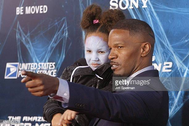 Actor Jamie Foxx and daughter Annalise Bishop attend the 'The Amazing SpiderMan 2' New York Premiere on April 24 2014 in New York City