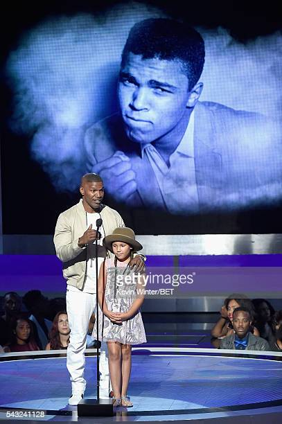 Actor Jamie Foxx and daughter Annalise Bishop speak onstage during the 2016 BET Awards at the Microsoft Theater on June 26 2016 in Los Angeles...