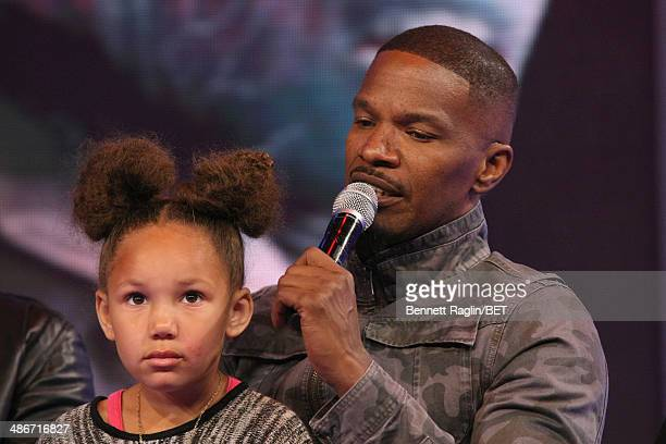 Actor Jamie Foxx and daughter Annalise Foxx visit 106 Park at BET studio on April 24 2014 in New York City