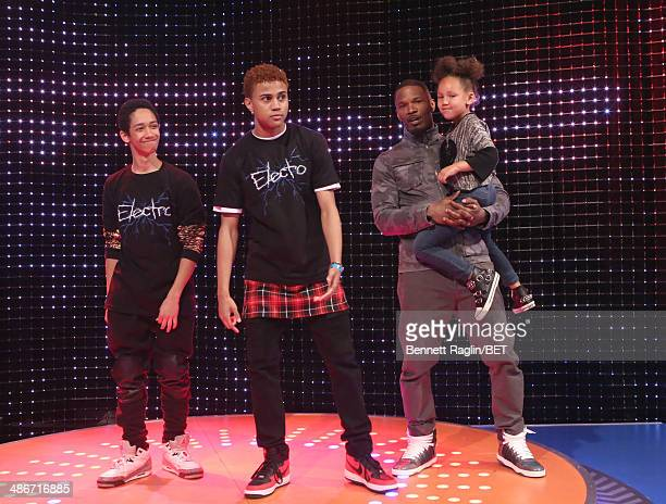 Actor Jamie Foxx and daughter Annalise Foxx watch 106 Park dancers during 106 Park at BET studio on April 24 2014 in New York City