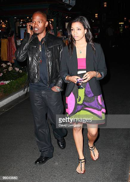 Actor Jamie Foxx and daughter Corinne Foxx are seen leaving a signing for Victoria Rowell's book Secrets of a Soap Opera Diva at Barnes Noble...