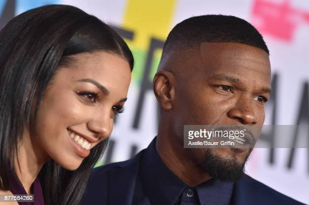 Actor Jamie Foxx and daughter Corinne Foxx arrive at the 2017 American Music Awards at Microsoft Theater on November 19 2017 in Los Angeles California