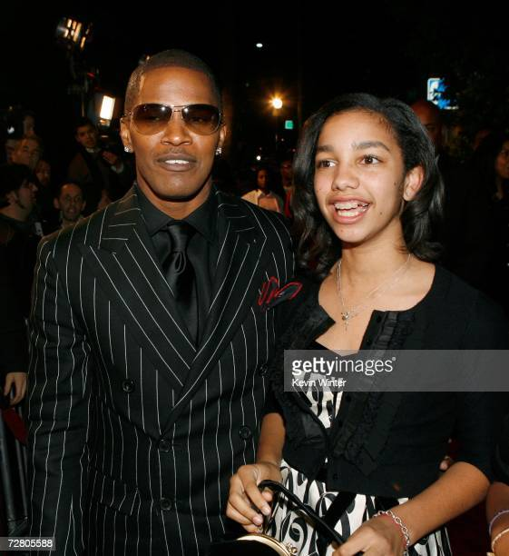 Actor Jamie Foxx and daughter Corrine Marie Foxx arrive at Paramount Pictures' Premiere of Dreamgirls held at the Wilshire Theatre on December 11...
