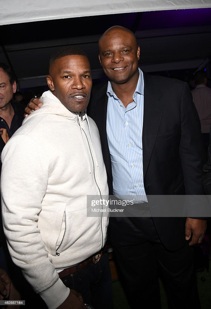 Actor Jamie Foxx and football player Warren Moon attend the Playboy Party at the W Scottsdale During Super Bowl Weekend, on January 30, 2015 in Scottsdale, AZ.