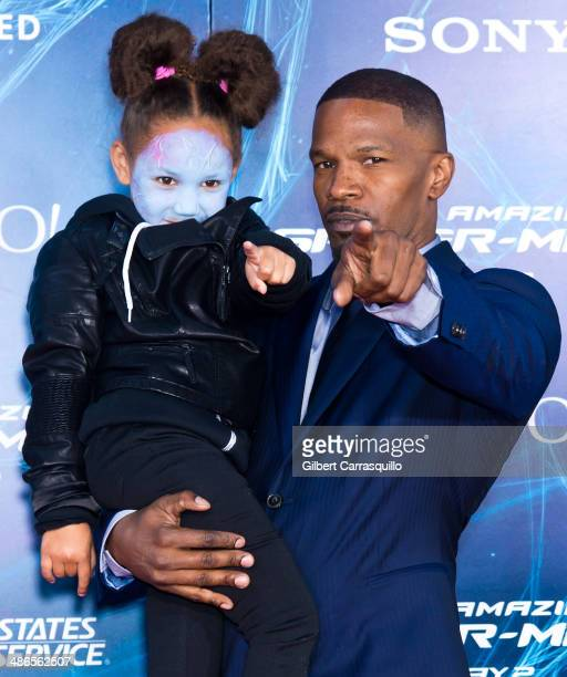 Actor Jamie Foxx and his daughter Annalise Bishop attend 'The Amazing SpiderMan 2' premiere at the Ziegfeld Theater on April 24 2014 in New York City