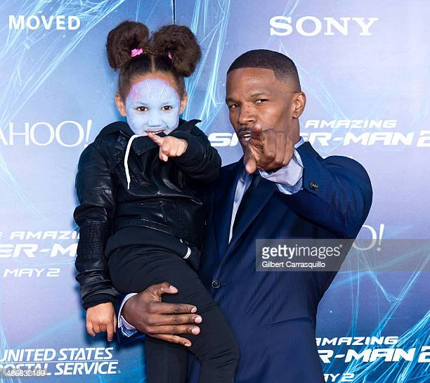 Actor Jamie Foxx and his daughter Annalise Bishop attend The Amazing SpiderMan 2 premiere at the Ziegfeld Theater on April 24 2014 in New York City