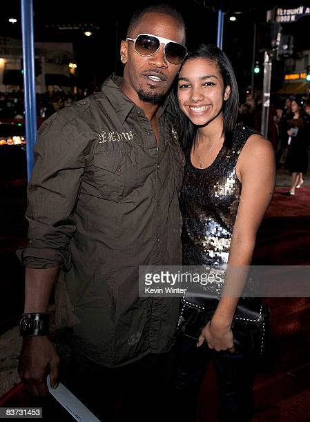 Actor Jamie Foxx and his daughter Corrine arrive at the film premiere of Summit Entertainment's Twilight held at the Mann Village and Bruin Theaters...