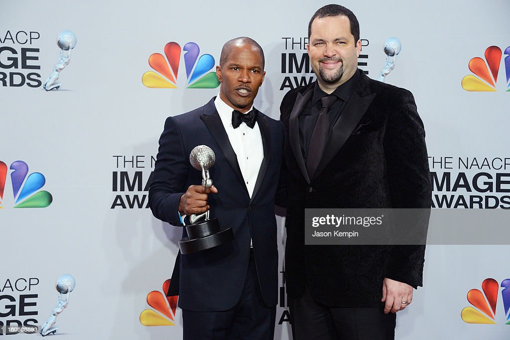 Actor Jamie Foxx (L) and NAACP President & CEO Benjamin Jealous poses in the press room during the 44th NAACP Image Awards at The Shrine Auditorium on February 1, 2013 in Los Angeles, California.