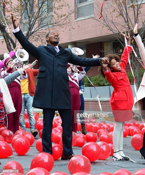 Actor Jamie Foxx and Quvenzhane Wallis are seen on the set of 'Anna'on December 2 2013 in New York City