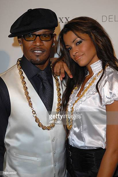 Actor Jamie Foxx and radio personalty Claudia Jordan attend the celebration for his 40th birthday hosted by Belvedere Vodka at The Florida Room...