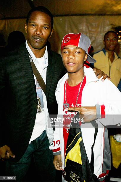 Actor Jamie Foxx and rapper Bow Wow are seen at the Distinctive Assets lounge for Nickelodeon's Kids' Choice Awards on April 3 2004 in Westwood...