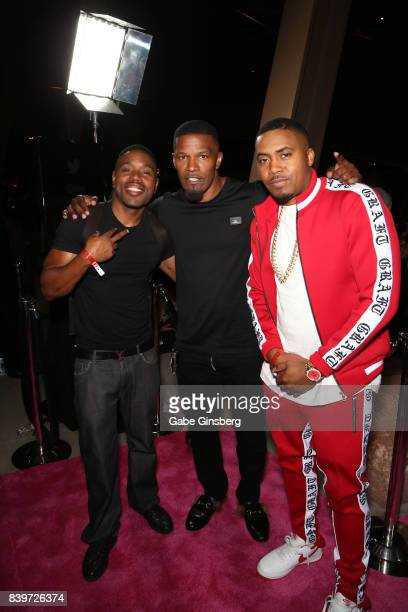 Actor Jamie Foxx and recording artist Nas arrive on TMobile's magenta carpet duirng the Showtime WME IME and Mayweather Promotions VIP PreFight Party...